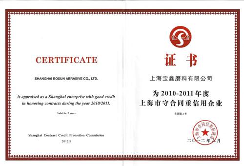 Certifications ao Shanghai Enterprise miaraka amin'ny fanomezam-boninahitra tsara bola amin'ny fifanarahana